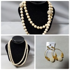 Vintage Real Stone Bead Necklaces & Hoop Earrings
